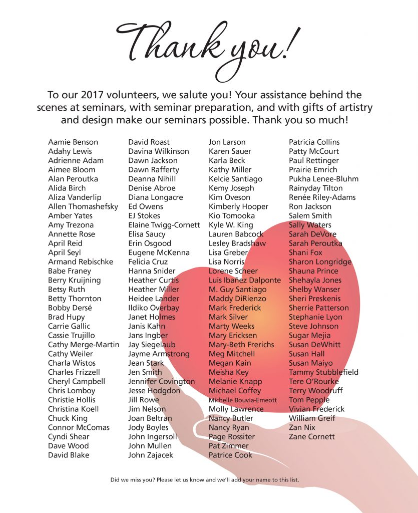 Thank you, 2017 volunteers