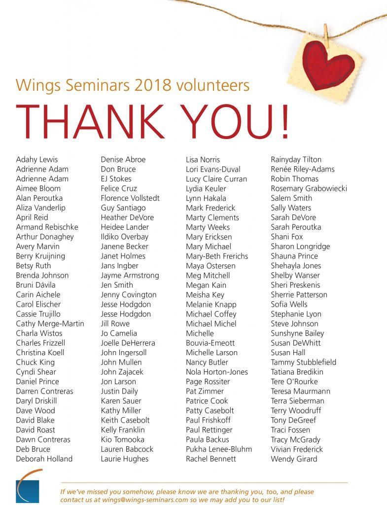 2018 volunteers